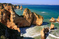 Ponta de piedade in lagos algarve region portugal beautiful cliffs of Stock Image