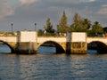 Ponta de romana over gilao river in tavira algarve portugal roman bridge Stock Image