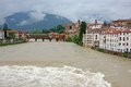Ponte degli alpini in bassano during a strong wave of bad weathe weather with the brown river brenta Royalty Free Stock Photography
