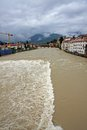 Ponte degli alpini in bassano during a strong wave of bad weathe weather with the brown river brenta Stock Photos
