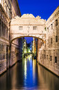 Ponte dei sospiri in venice bridge of sighs italian illuminated the night italy landmark Royalty Free Stock Photo
