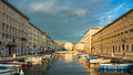 Ponte rosso view in trieste evening on the canal of italy Stock Image
