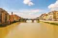 Ponte Santa Trinita bridge over the Arno river  in Florence Royalty Free Stock Photo