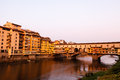 Ponte Vecchio Bridge Across Arno River in Florence Royalty Free Stock Photo