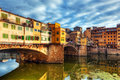 Ponte Vecchio bridge in Florence, Italy. Arno River. Royalty Free Stock Photo