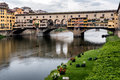 Ponte Vecchio, famous old bridge in Florence on the Arno river, Florence, Tuscany, Italy Royalty Free Stock Photo