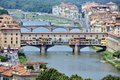 Ponte vecchio florence italy aerial view of famous old bridge firenze Royalty Free Stock Photos