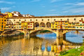 Ponte vecchio in florence over arno river italy Stock Photography