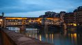 Ponte vecchio florence twilight the famous for its jewelers and the secret bridge running to the uffizzi palace cross the arno Royalty Free Stock Photography