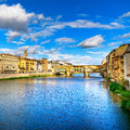 Ponte vecchio landmark on sunset old bridge arno river in florence tuscany italy medieval Royalty Free Stock Images
