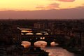 Ponte Vecchio over Arno river in Florence, night view Tuscany Royalty Free Stock Photo