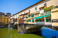 Ponte vecchio view over arno river in florence famous italy Royalty Free Stock Photos