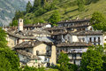 Pontechianale cuneo val varaita piedmont italy the old village at summer and the alps Stock Images