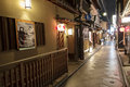 Ponto cho alley is one of the most characteristic streets in kyo at night kyoto japan narrow kyoto with restored Royalty Free Stock Photos
