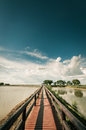 Pontoon bridge with blue sky Royalty Free Stock Photo