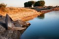 Pontoon bridge over the syr darya river kazakhstan Royalty Free Stock Photography