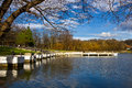 Pontoon lake at astra park in sibiu transylvania romania Royalty Free Stock Image