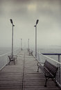 Pontoon view foggy from a in mamaia romania Royalty Free Stock Images