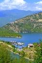Pontoons houses beautiful lake nature bulgarian rodopes mountains and vacha dam with fishing farms Stock Photo