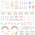 stock image of  Pony unicorn face elements. Pretty hairstyle, magic horn and little fairy crown. Unicorns head creative vector