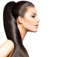 Ponytail hairstyle beauty brunette fashion model girl Stock Images