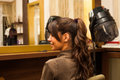 Ponytail smiling young woman hairdo at hairdressing salon Royalty Free Stock Photography