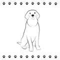 Pooch drawing line of sitting dog Royalty Free Stock Images