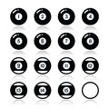 Pool ball billiard or snooker ball icons set vector of balls isolated on white Royalty Free Stock Photo