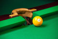 Pool ball top view of billiard on green table Stock Images