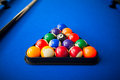 Pool balls in triangle Royalty Free Stock Photo