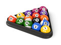 Pool balls triangle group of colorful glossy game with numbers and plastic isolated on white background set of Royalty Free Stock Photos