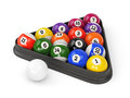 Pool balls triangle group of colorful glossy game with numbers and plastic on white background set of d illustration Stock Photo
