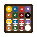 Pool billiard balls rack commonly used starting position flat vector illustration. Royalty Free Stock Photo