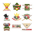 Pool or billiards vector icons set Royalty Free Stock Photo