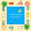 Pool with Blue Water Summer Vacation Concept Card Poster. Vector
