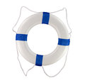 Pool and boat throwable life saver buoy blue rings isolated on a white background for use on a or at a Stock Images
