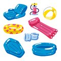 Pool cute kids inflatable floats, vector isolated design elements. Chair, ball, ring, pool, raft icons isolated on white