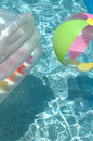 Pool details vertical shot of a float and a ball in a up close Royalty Free Stock Photography