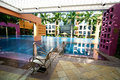 Pool facilities of a private condominium. Stock Photos