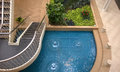 Pool and garden stairway viewed from above Royalty Free Stock Images