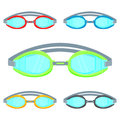 Pool goggles vector illustration isolated on white background set