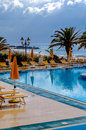 Pool and mediterranean sea in a rainy day sicily italy Royalty Free Stock Image