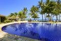 Pool, ocean, palm trees Royalty Free Stock Photo