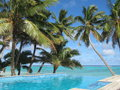 Pool by the ocean tropical resort rarotonga cook islands Stock Photo