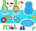 Pool Party Vector Design Illus...