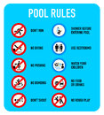 Pool rules signs set of typical warning and prohibited Royalty Free Stock Photography
