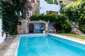Pool from rustic house photography of Royalty Free Stock Photos