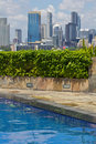 Pool with skyline behind Royalty Free Stock Image