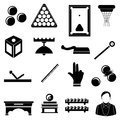 Pool snooker billiards icons set