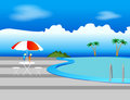 Pool, Sunshade and Drinks Royalty Free Stock Photos